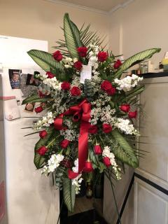 RED AND WHITE FUNERAL SPRAY